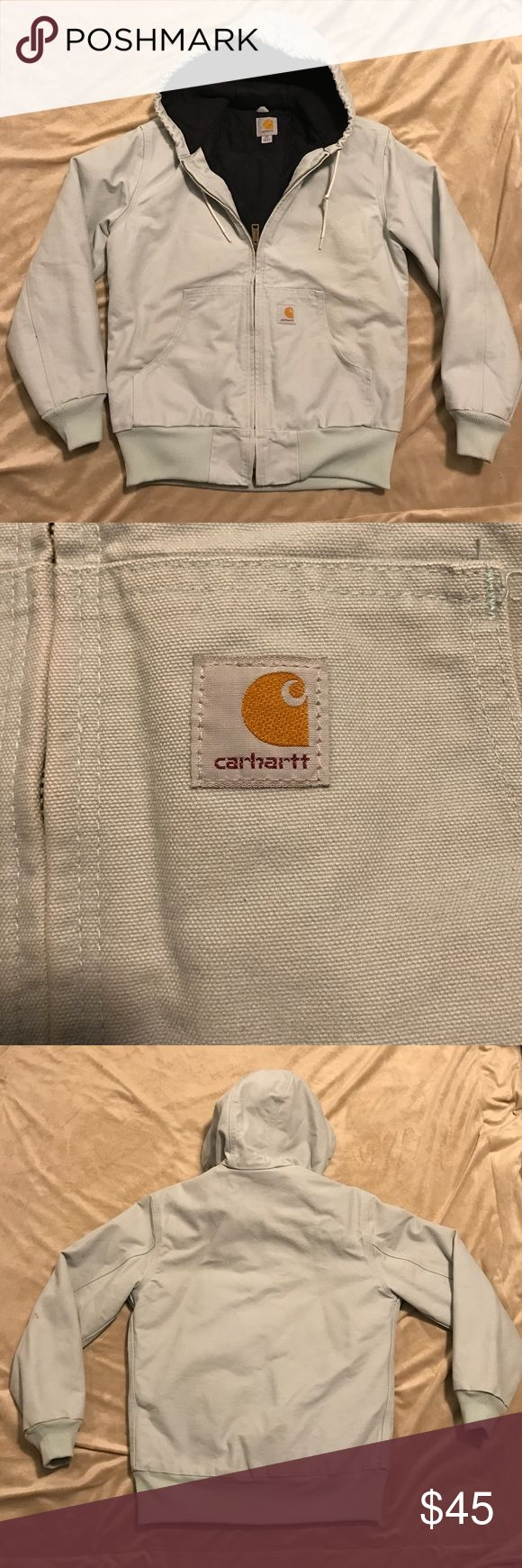 Womens Carhartt Jacket It's a light denim blue color. Inside zip pocket, as well as two outside pockets. Authentic carhartt, so it's very heavy, keeps the cold out & the warmth in. No stains or rips. It's in very good condition! Carhartt Jackets & Coats Utility Jackets