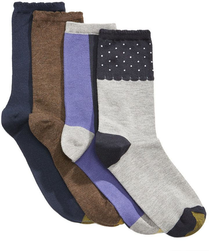 Gold Toe Women's 4-Pk. Dot Border & Colorblocked Crew Socks, A Macy's Exclusive Style