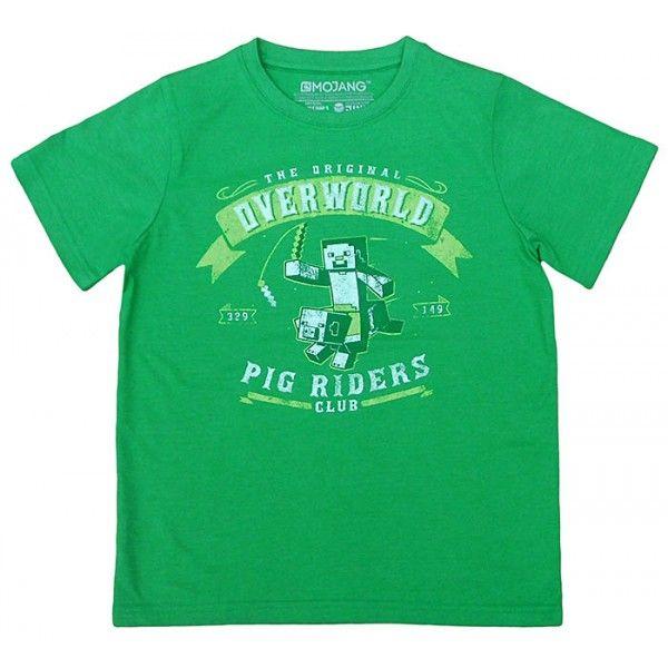 Minecraft t-shirt grøn med Steve