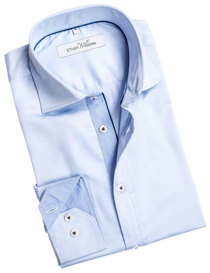 Light Blue Dress Shirt for Men - Ethan Williams Shirt - Amandine