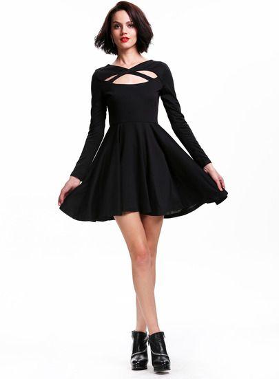 black backless skater dress - Google Search