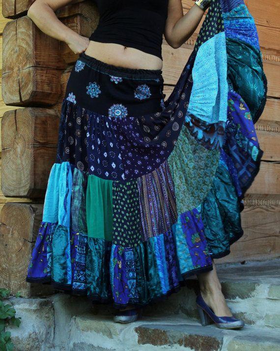 Very wide gypsy boho skirt recycled patchwork tribal by jamfashion, $101.00