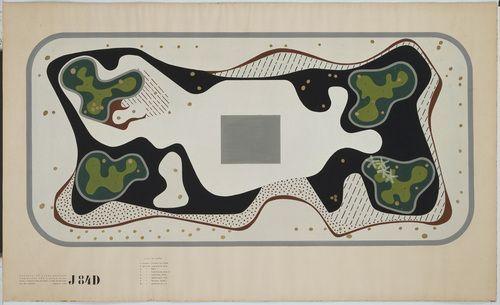 Roberto Burle Marx. Garden Design, Duque de Caxias Square, Rio de Janeiro, Brazil, Plan. 1948