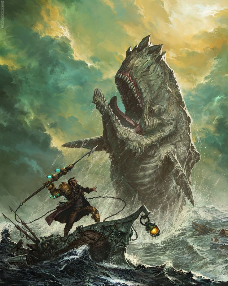 A #steampunk Captain Ahab vs. a prehistoric Moby Dick! Illustration by Josh Guglielmo, http://arcanechroma.cgsociety.org/art/photoshop-ballisticpublishing-cfe-expose12-captain-ahab-steampunk-2d-1402923