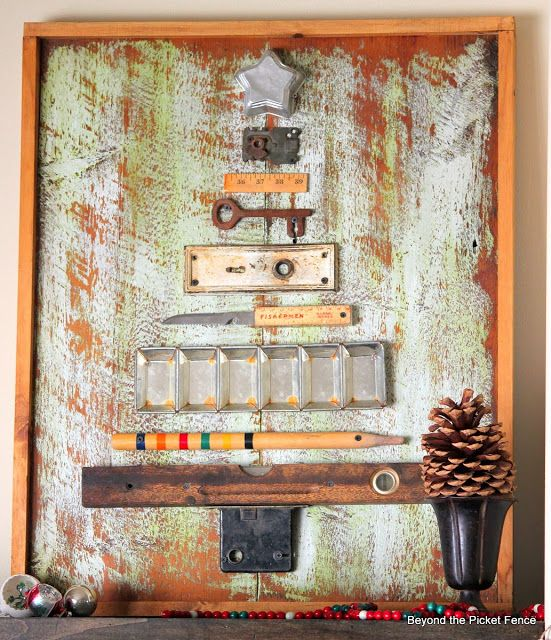 Junk Christmas tree, by Beyond The Picket Fence, featured on http://www.funkyjunkinteriors.net/