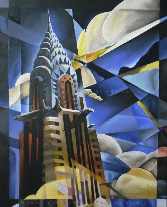 The famous chrysler building painting fabulous for Art deco building materials
