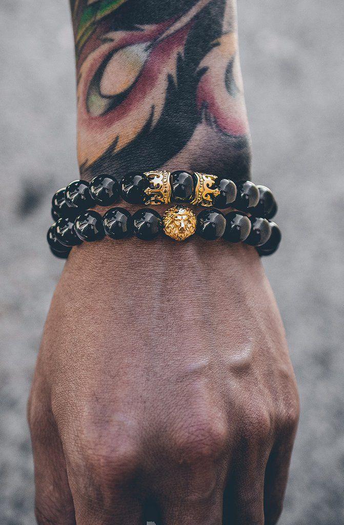 Mister King Bead Bracelet - Onyx & Gold | Mister SFC