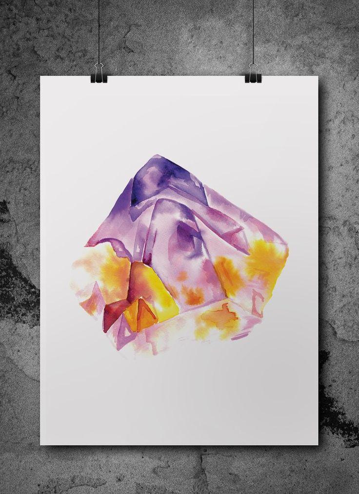 amethyst quartz  watercolour print