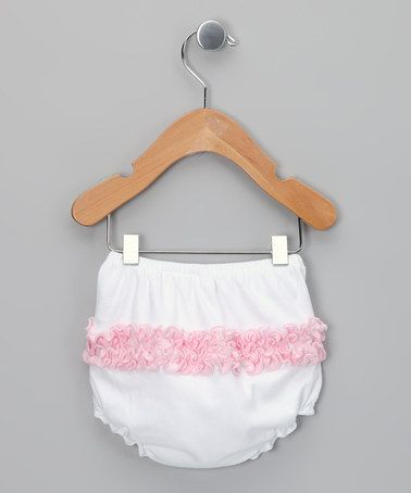 Take a look at this White & Pink Ruffle Diaper Cover by Cute as Buttons on #zulily today!