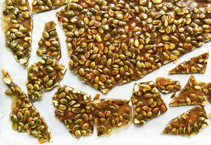 """Alton Brown's Pumpkin Seed Brittle: Hulled green pumpkin seeds are often found in the Latin or Mexican ingredient aisle of megamarts as """"pepitas."""" They're delicious and easy to eat, and we used them in our application here."""