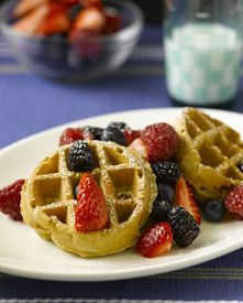 Good Morning! Try this healthy waffle recipe with your family today or sometime on the weekend. Remember you can always substitute the ingredients to make the recipe allergy and vegetarian friendly (eggs = egg replacer, milk = almond milk, sugar = agave or honey)