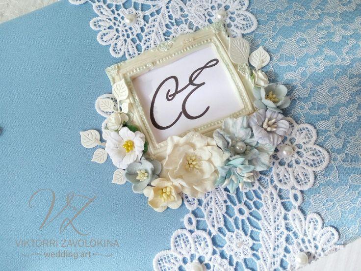 Blue floral wedding guest book