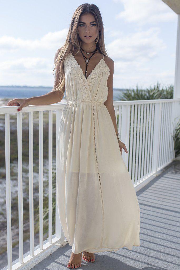 Sweet Seaside Cream Maxi Dress