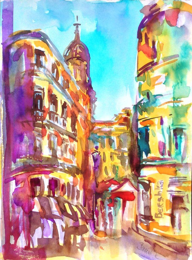 Malaga calle larios 14,8x21 cm art by Konrad Biro