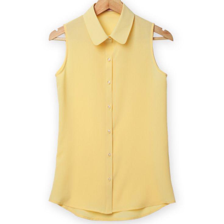 Women Sleeveless Turn-down Chiffon Blouse Shirt Blouse