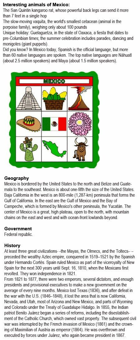 Information about Mexico for kids http://firstchildhoodeducation.blogspot.com/2013/11/information-about-mexico-for-kids.html