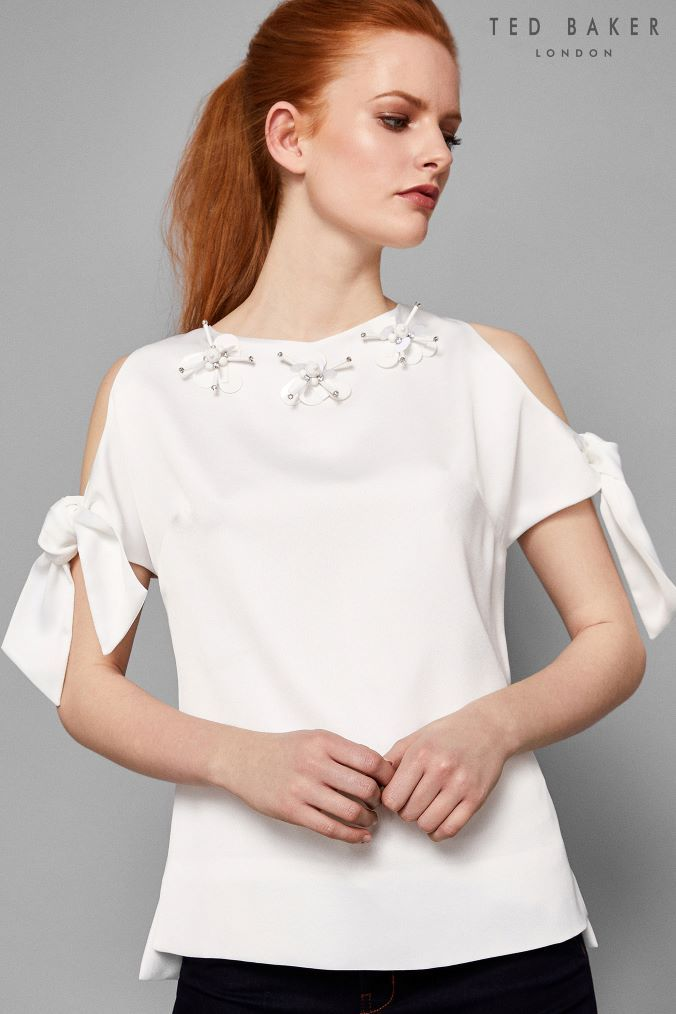 77596a676c44fd Womens Ted Baker Yanas White Bow Blouse - White