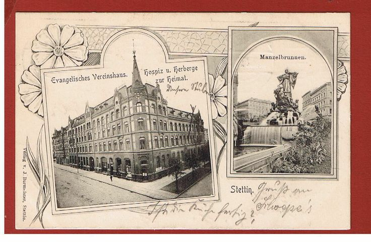 Alte AK Stettin Szczecin Polen Evangelisches Vereinshaus Mannzelbrunnen 1911 | eBay