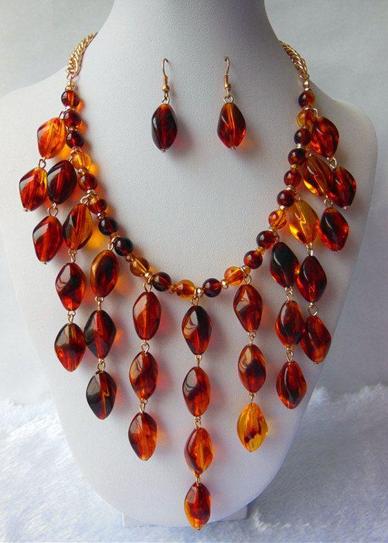 Amber Jewelry Set  Amber Bib Necklace  Drop by Daixijewelry, $13.00