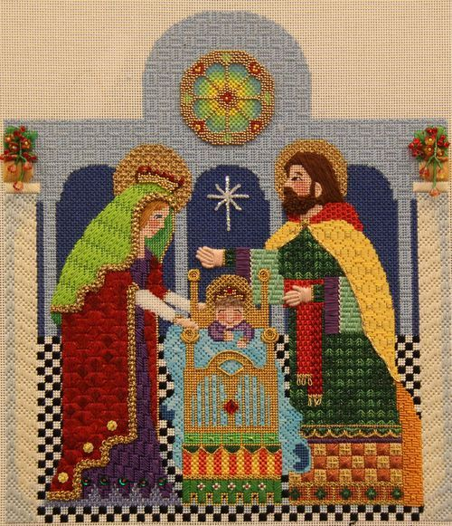 Finsihed holy family - Brenda Sofft nativity - stitch guide by the Stitching in the Texas Country / the Needle Works