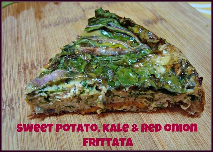 Sweet potato, kale & red onion frittata. | Good Eats | Pinterest
