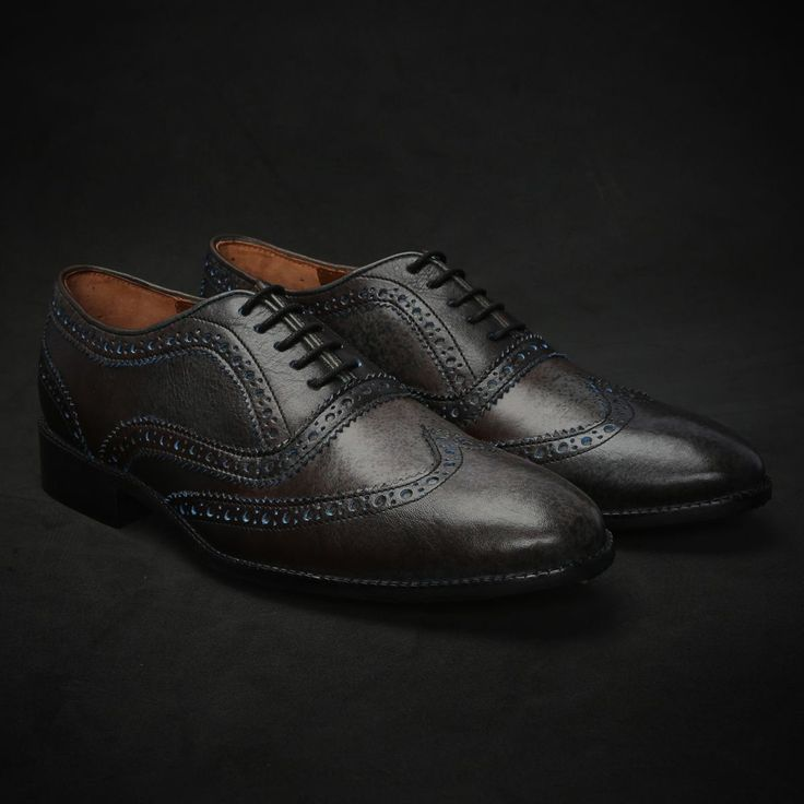 BUY DARK GREY & BLUE DUAL SHADE HAND PAINTED LEATHER BROGUE SHOE FOR MEN ONLINE
