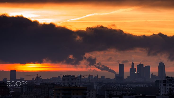 Cloudy Warsaw Cityscape - Late November Warsaw Cityskape on sunrise