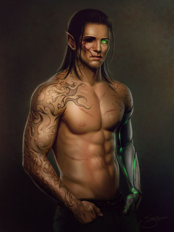 """Soooooooooo commissioned a half-body painting alongside the portrait of her RP character Naruthian """"Javin"""" Cobrashot. Wanting to show off his... tattoos. And his mechanical arm, of course."""