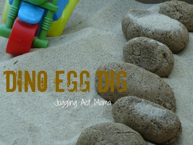 Dino egg dig - a recipe to make dino eggs with tiny plastic dinosaurs hidden inside!