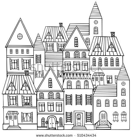 Black and white sketch panorama of the city. Doodle. Sketch of city architecture. Vector illustration drawn by hand.