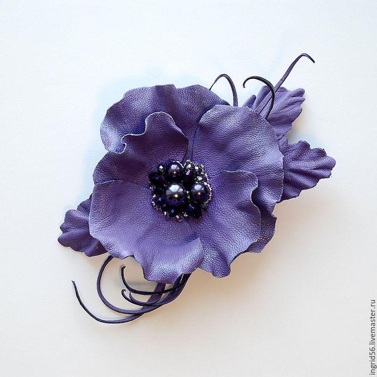 Купить Брошь из натуральной кожи Виола 5 фиолетовая - фиолетовый, брошь из кожи, украшения из кожи