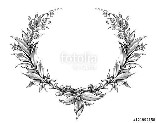 Вектор: laurel wreath vintage Baroque  frame border monogram floral heraldic shield leaf scroll engraved retro flower tattoo black and white vector