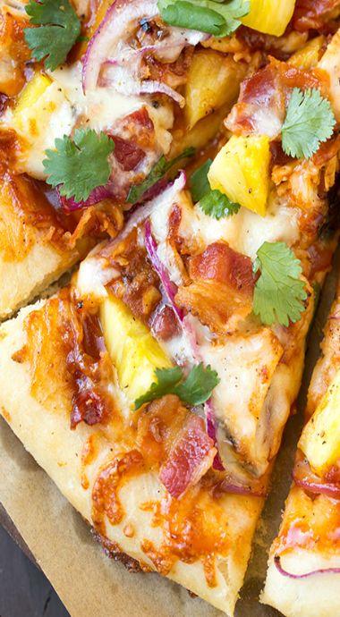 Hawaiian barbeque chicken pizza