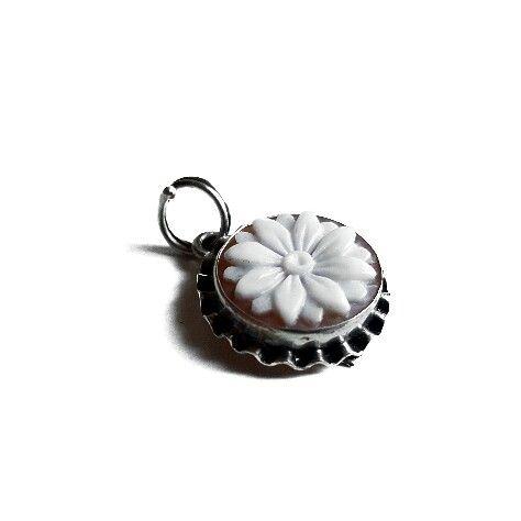 Flower cameo shell silver shell cameo pendant