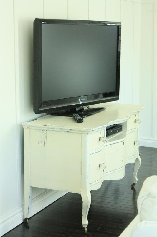 #Repurposed old dresser into a tv stand. Be sure to anchor the tv down well. want to do this for our family room