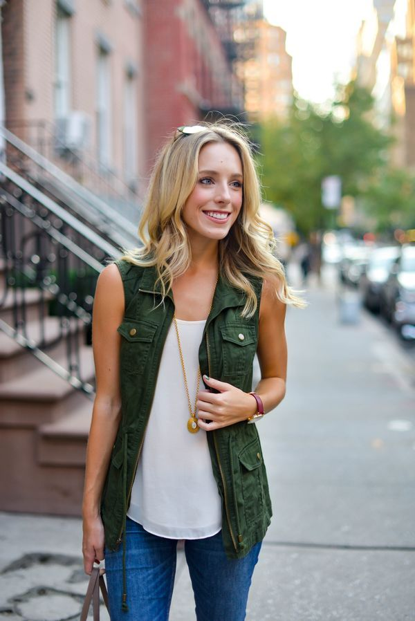 Fall Outfit Inspiration: Green Utility Vest via @katiesbliss