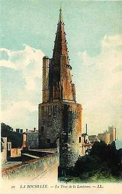 La Rochelle France 1906 Lantern Tower City Walls Antique Vintage Postcard