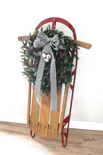 Such a beautiful antique sled - perfect for holiday decorating.