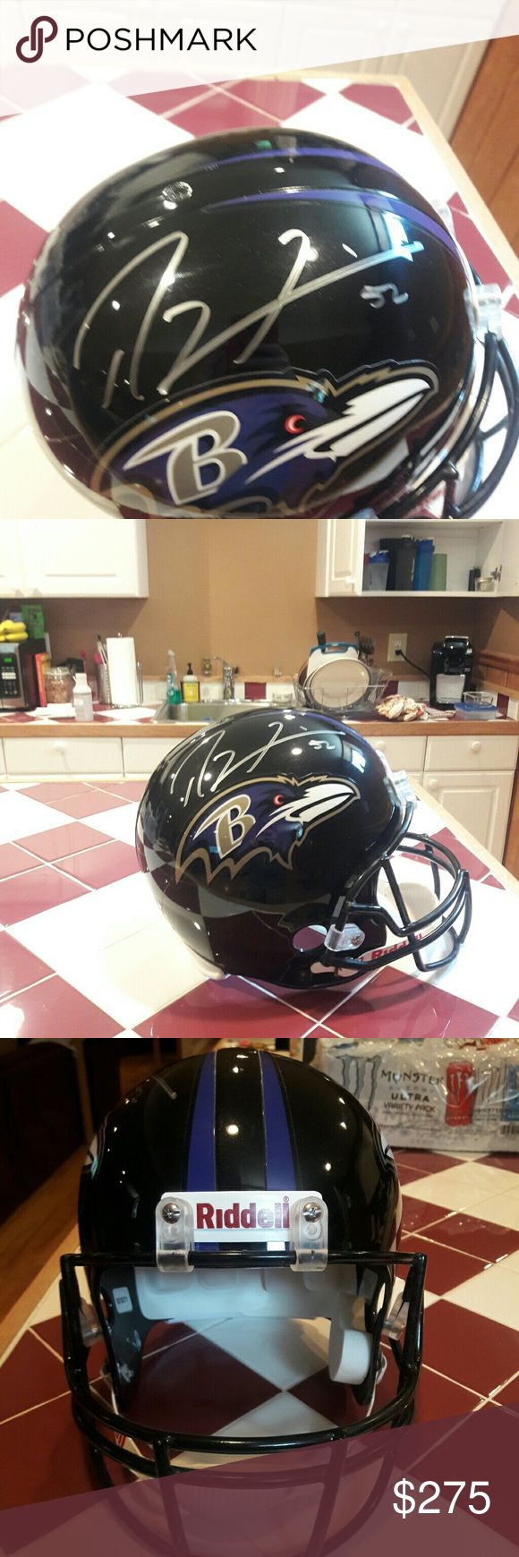 Signed  Ravens Ray Lewis #52 helmet This signed Ravens replica helmet is signed by Ray Lewis during his last season in the NFL league. Perfect as a decoration or any sports loving fan. Makr me N offer randell Accessories Hats