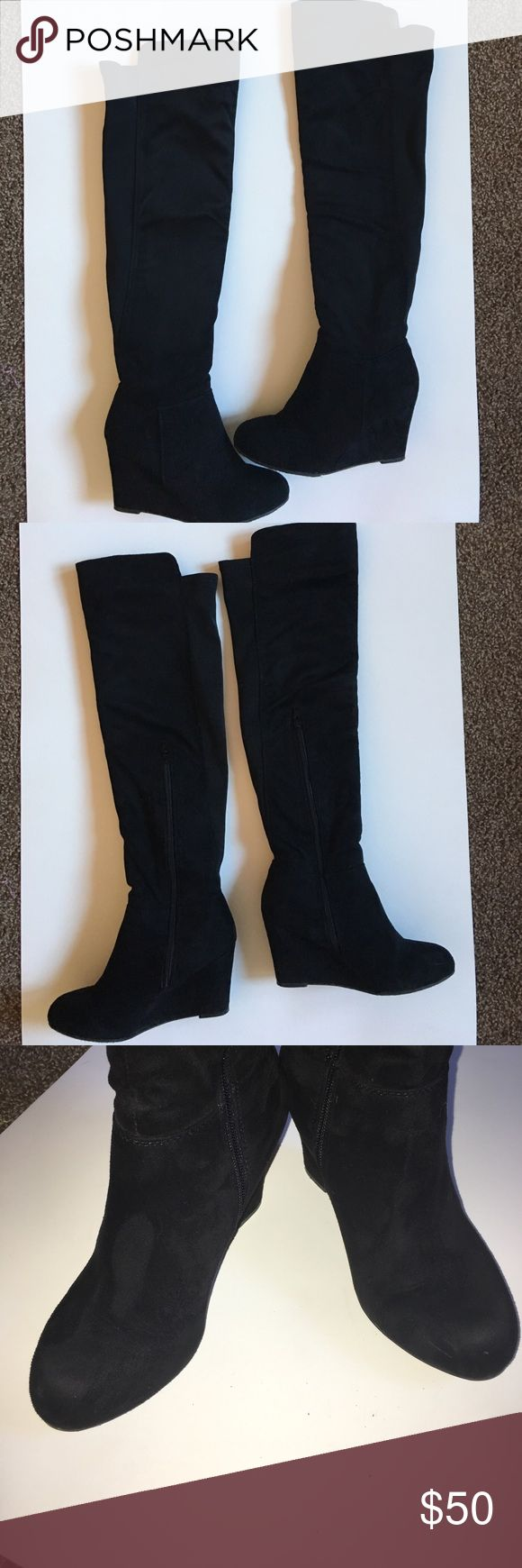 "Over the knee black suede boots w/ original box Worn twice. Too big for me. I'm normally a 5, purchased a 6 by mistake.Shaft measures approximately 21.75"" from arch Heel measures approximately 2.75"" Boot opening measures approximately 16"" around Over the knee slouchy suede wedge boots Chinese Laundry Shoes Over the Knee Boots"