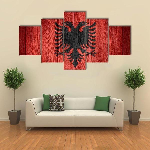 Albania Flag On Wooden Boards Multi Panel Canvas Wall Art Canvas Wall Art Big Wall Art Wall Art Designs