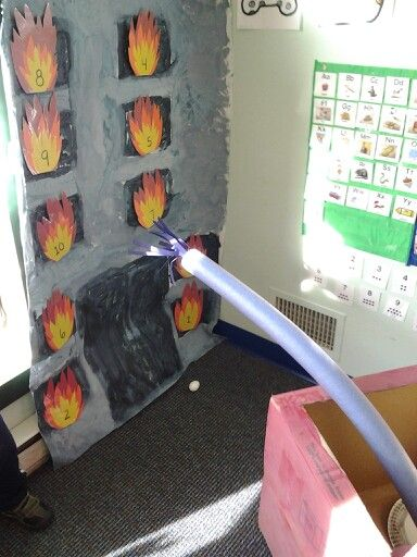 For fire safety month we made a firetruck out of a cardboard box. We used a pool noodle as the fire hose. We also made a burning building for the children to extinguish!