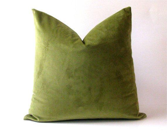 Olive Green Velvet Pillow Cover by EviaMaeAndAlex on Etsy