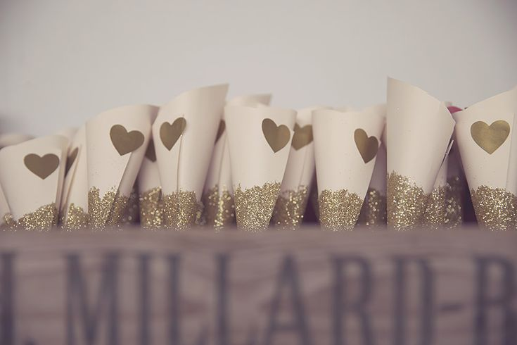 Gold Glitter Confetti Cones | Crug Glas Country House & Restaurant Wedding Venue | Red, Pink & Gold Colour Scheme | Pronovias Wedding Dress | Images By Roz And Kirsty Photography | http://www.rockmywedding.co.uk/nicy-ade/