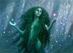 driada Las dríadas son duendes de los árboles con forma femenina, muy solitarias y de gran belleza. Físicamente tienen unos rasgos muy delicados, parecidos a los de las doncellas elfas. Tienen los ojos violeta o verde oscuro y su cabello y piel cambian de color según la estación.