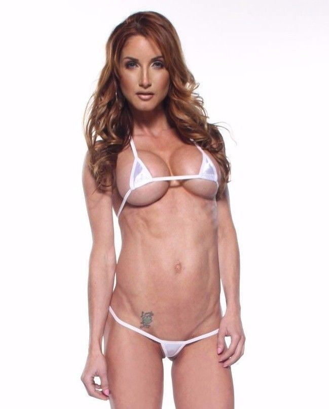 Bitsy'S Bikinis Solid White Exotic Euro-Style Micro G-String Extreme Bikini 2Pc