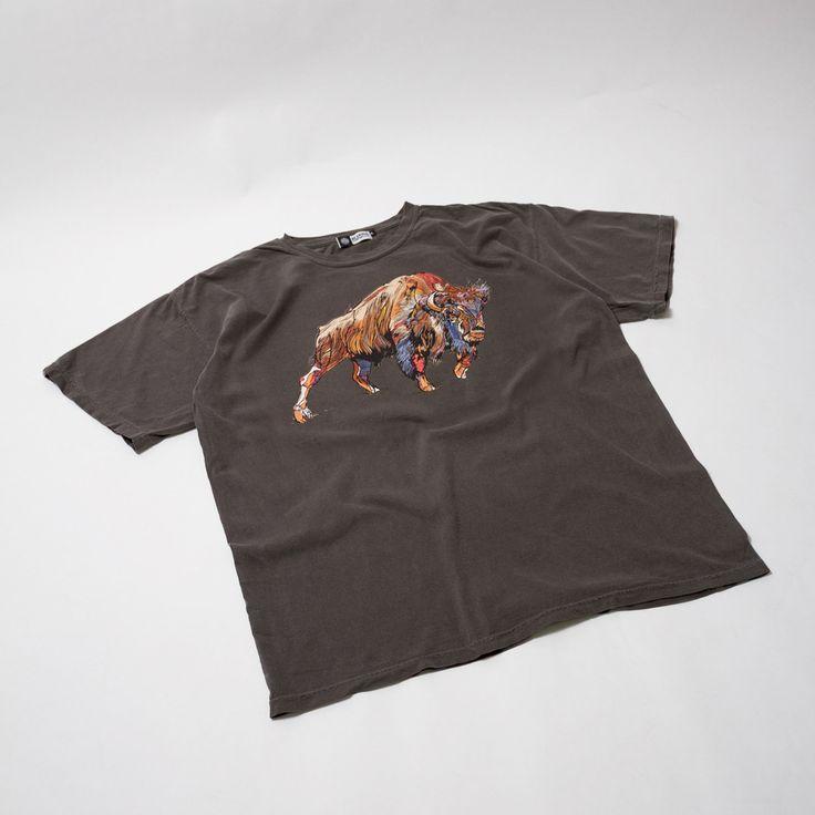 Buffalo Washed Charcoal T-Shirt - Original artwork by Luke Dixon