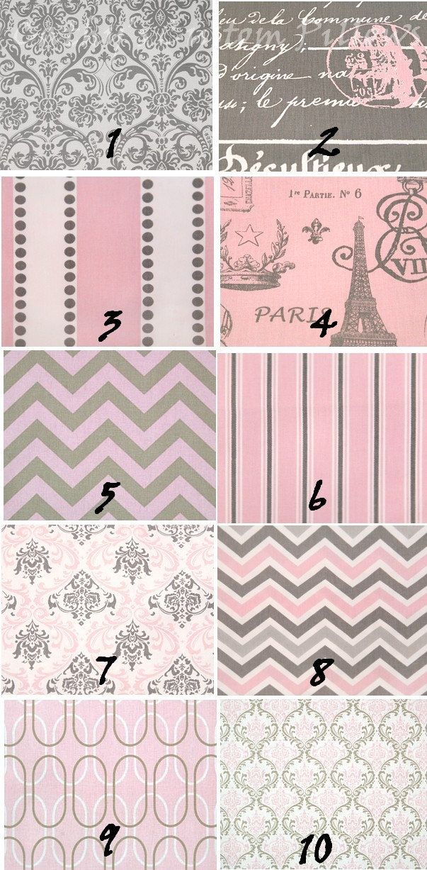 CURTAINS PREMIER FABRIC Bella Pink Grey Collection E Two Drapery Panels 50 x 84 Choose From Paris Chevron Zig Zag Stripes. $119.00, via Etsy.