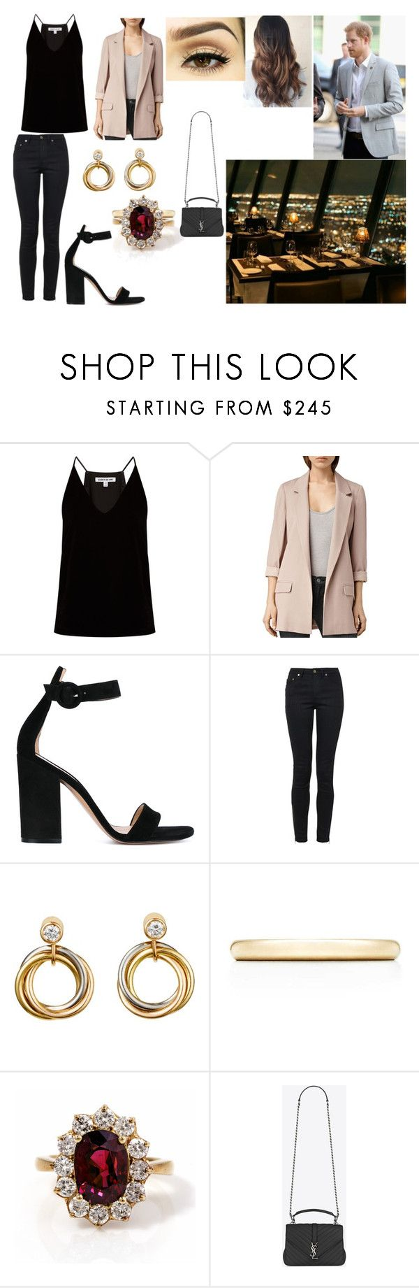 """Having Dinner at the CN tower Before leaving Canada"" by stylesroyals ❤ liked on Polyvore featuring Elizabeth and James, AllSaints, Gianvito Rossi, Yves Saint Laurent, Cartier, Tiffany & Co. and AGL"