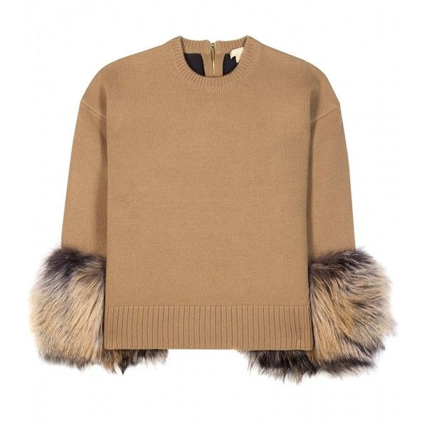 Michael Kors collection Cashmere and Wool-Blend Fur-Trimmed Sweater (9.220  BRL) ? liked on Polyvore featuring tops, sweaters, shirts, michael kors,\u2026